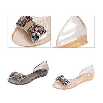 Bowknot Dot Transparent Jelly Shoes Peep-toe Sandals Beach Summer