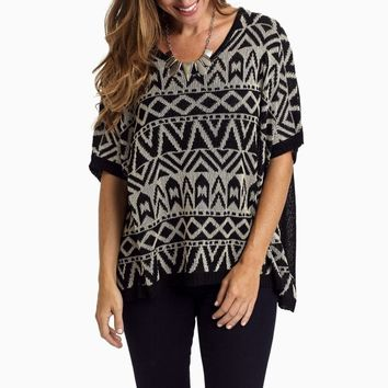 Black-Cream-Printed-Knit-Dolman-Sleeve-Sweater