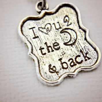 I love you to the moon and back hand stamped tibetan silver necklace, add-on pendants, can be personalized and custom made