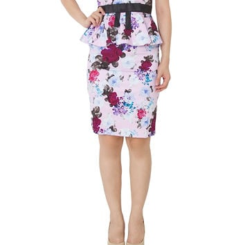 TRISS Floral Peplum Dress With Black Ribbon In Lavender