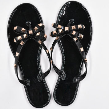 New Summer Women Flip Flops Slippers Flat Sandals Bow Rivet Fashion Pvc Crystal Beach Shoes