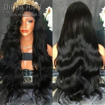 Long Black Curly High Temperature Fiber Full Wigs Lace Front Wig(24/26inch;Black/Gold)