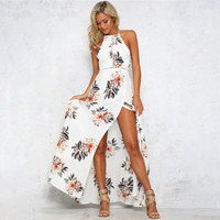 2017 new Floral print halter chiffon long dress Women white split beach summer dress Sexy backless maxi dresses vestidos