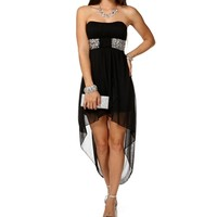 SALE-Black Jeweled Waist Hi-Lo Dress