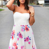 Lace Over Floral Dress
