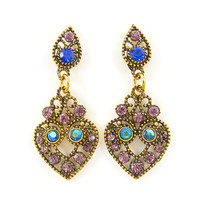 Blue Purple Aqua Rhinestone Drop Earrings Antique Gold Chandelier Earrings Ornate Vintage Style Jewelry
