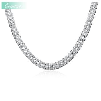Link Chains Necklace,Classic 925 Sterling Silver  For Women,Full Circle TO 18 Inch Round Silver Necklace Fashion Chain Necklace