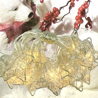 Silver Metal Wire Stars with Clear LED Lights - 5-ft Lighted String Set (Battery Operated)