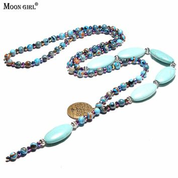 MOON GIRL 6MM Natural Stone Bohemian Necklaces Pendants Ethnic Meditation Yoga Tree of Life Necklaces for Women Drop Shipping