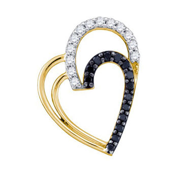 Black Diamond Heart Pendnat in 10k Gold 0.31 ctw