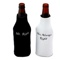 Mr Right and Mrs Always Right Embroidered Beer Bottle Coozie Set