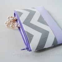 Chevron, Gray, Mint, Navy Blue zipper pouch, cosmetic case, organizer, makeup bag, clutch, travel bag, design your own, zig zag