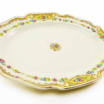 Oval Orleans Shaped Serving Platter Cottage Chic Rose Cream Scalloped Red Pink Yellow Blue  Rose Daisy Flower Bouquet Garland