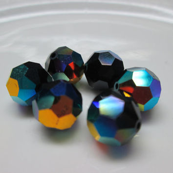 6 swarovski crystal beads round crystal beads black beads 10mm jet ab bead supplies jewelry making jewelry supplies