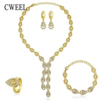 CWEEL Women Jewelry Sets Dubai Jewellery Engagement Gold Silver Color African Beads Sudan Water Drop Party Tassel Ornaments