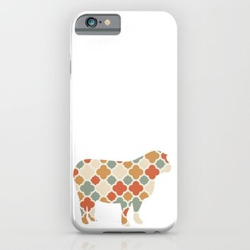 SHEEP SILHOUETTE WITH PATTERN iPhone & iPod Case by deificus Art