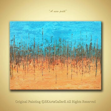 Original Abstract Heavy textured Acrylic painting- Modern Contemporary Artwork for Home - Aqua blue Orange shades wall Art on Gallery canvas