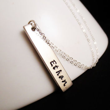 Silver Bar Personalized Name Necklace, Vertical Rectangle, Mom Sister Aunt Grandma Christmas, Valentines Mothers Day, Handstamped,Bridesmaid