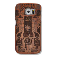 Egypt Pharaoh Pattern Samsung Galaxy S6 Handmade Natural Wood Wooden Shockproof Case, Sony Xperia Z3 Wood Case