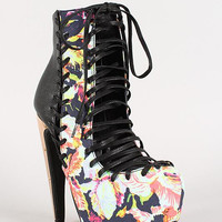 Privileged Floral Lace Up Metallic Heel Platform Bootie Color: Multi-pink, Size: 6