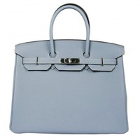 Hermes Bleu Lin Togo Leather 35cm Birkin Bag Palladium Hardware
