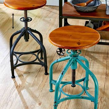 Adjustable Height Swivel Stool Metal & Wood Multi-functional Black or Teal