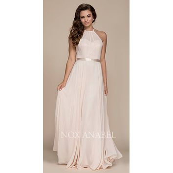 Champagne Halter A-line Bridesmaid Gown Corset Lace Up Back