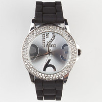 Large Number Rhinestone Watch Black One Size For Women 24129210001