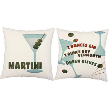 Set of 2 Martini Print Pillows - Cocktail Throw Pillow Covers with or without Cushion Inserts - Drink Recipe Print, Mad Men, Mid Century Mod