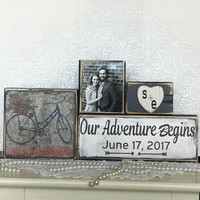 Our adventure begins sign, reclaimed wood sign, vintage bike sign, wedding gift, bridal shower gift, wedding gift husband, fifth anniversary