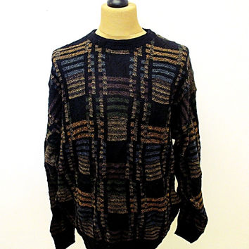 Vintage 80s Jantzen Black Brown Indie Sweater Jumper XL
