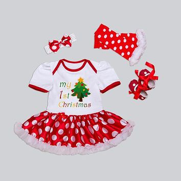 Newborn Christmas Clothes Baby Girls Clothing Set My First Christmas Baby Clothes Set Ruffle Tutu Dress New Born Baby Clothing