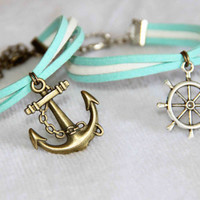 navy sailling anchor rudder bracelet anklet handmade bracialli summer trending simple fashion friendship graduation gifts