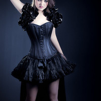 Queen Du Nuit   Pvc  SALOON GIRL   Long Burlesque  Luxe Saloon Bustle STEAMPUNK