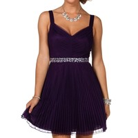 Sale-aviana- Eggplant Homecoming Dress
