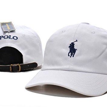POLO Embroidered Baseball Cap Hat White
