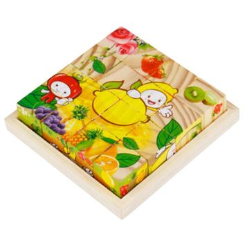 Educational Toy 3D Wooden Puzzle for Kids Cube Puzzle Fruits(2 Years and up)