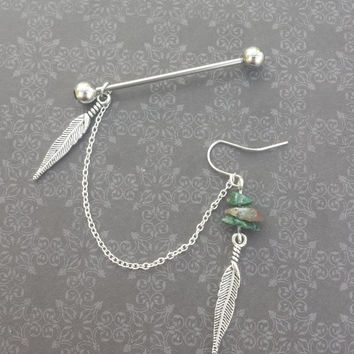 Feather and Indian Agate Industrial Barbell & Earring with connecting chain!