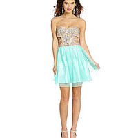 Morgan & Co. Beaded Cutout Sides Party Dress - Mint/Gold