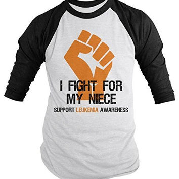 Shirts By Sarah Men's Leukemia Awareness Shirt 3/4 Sleeve Fight For Niece Fist Raglan Orange Ribbon