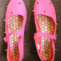 neon pink punk hipster silver metal spike spiked studs mary janes flats size 10