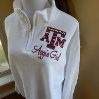 Texas A&M logo Quarter Zip Sweatshirt - Aggie Girl - Howdy - Gig 'Em