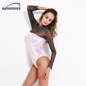 Bothwinner New Women Sexy Bodysuit Pink  Long Sleeve Bodysuit Sheer Mesh Lace Bodysuit for Women Rompers Bodycon Jumpsuit