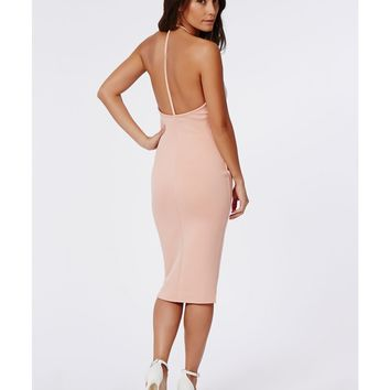 Missguided - Aileen Scuba Gold Cube Trim Midi Dress Nude
