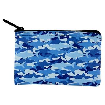 ICIKJY1 Great White Shark Camo Coin Purse