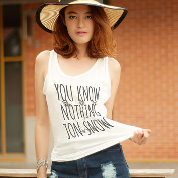 You Know Nothing Jon Snow Shirt Game of Throne Shirts for Teens Tank Top Jon Snow Tank Graphic Tees Hipster Clothing Screenprinted TShirt