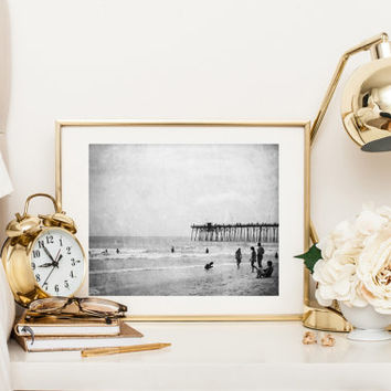 Beach print, black and white photograph, fine art photography, summer, ocean, Kure Beach pier, North Carolina, vintage wall art home decor