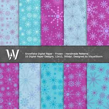 Frozen Snowflakes Digital Paper, purple and blue printable backgrounds, scrapbooking, winter projects, christmas, parties, Buy 2 Get 1 Free