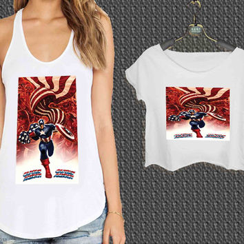 Marvel CAPTAIN AMERICA GEONOID For Woman Tank Top , Man Tank Top / Crop Shirt, Sexy Shirt,Cropped Shirt,Crop Tshirt Women,Crop Shirt Women S, M, L, XL, 2XL**