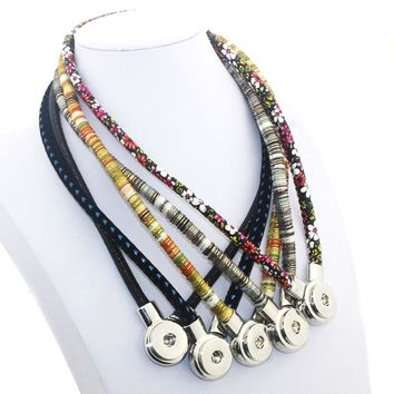 50 CM Leather Necklace Ginger Snap Jewelry Multi Colorful Magnet Clasp 18mm Button Pendant 6 Colors